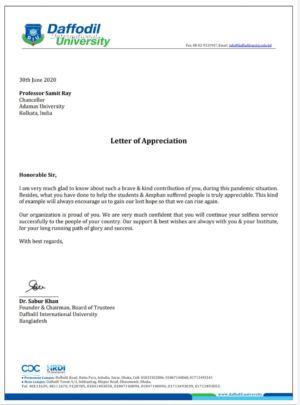 Letter of Appreciation